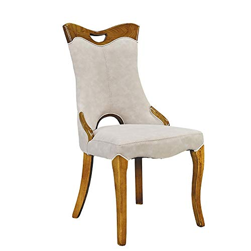 FTFTO Daily Equipment Dining Chair 2 Piece Set of Artificial Leather Dining Chair High Back Chair with Solid Wood Legs Home Practical Chairs (Color : Beige Size : 51cm x 50cm x 101cm)