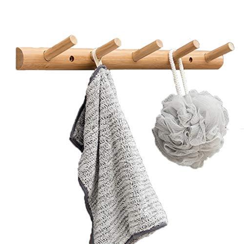 Bambou Planche De Bois Porte-Manteau Cintre Manteau Robe Chapeau Vêtements Lourds Montage Mural Couloir Crochet Cintre Porte-Serviette Rack-Bois Couleur (Size : 5 hooks)