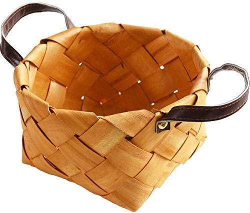 Weidenkorb,Handwerkskunst Rattan handgefertigten Ablagekorb Home tragbare Brotkorb Küche Finishing Holz Ablagekorb 25 * 11 * 11cm, Hackschnitzel Farbe Square Medium, 24 * 24 * 13cm