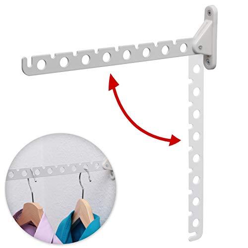 PRIOstahl 1 x Kleiderlüfter | Kleiderhaken/Garderobenhaken/Abhängträger/Haken | klappbar - 310 mm (1 Stück, Weiss)
