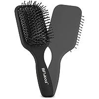 BFWood Cepillo de pelo con paleta desenredante mediana, ideal para cabello húmedo o seco, para mujeres, hombres y niños, No más pelo enredado(negro mate)