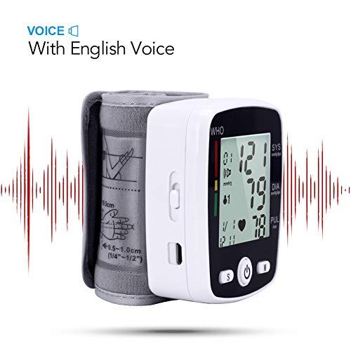 DCSHOP Tensiometro de Brazo Monitor, Carga USB Voz Automática Monitor de PresióN Arterial Digital de MuñEca, Medir la PresióN Arterial Y La Frecuencia CardíAca para Uso DoméStico