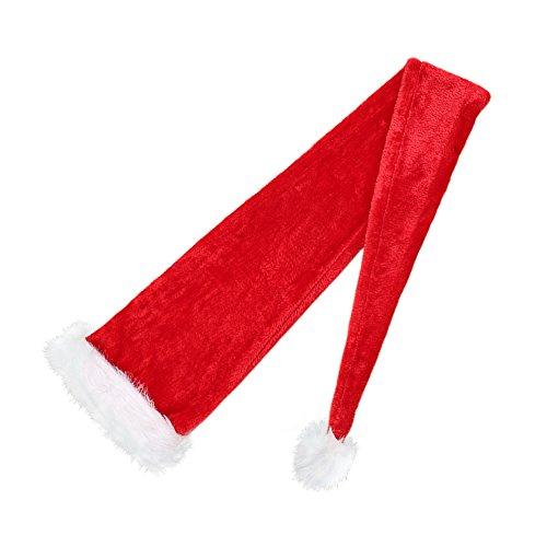 FY Unisex Adulto Natalizie Cappello Cappelli Hat Babbo Natale Berretto Velluto Rosso Lunga Coda Fancy Dress Costume Christmas Natale Regalo
