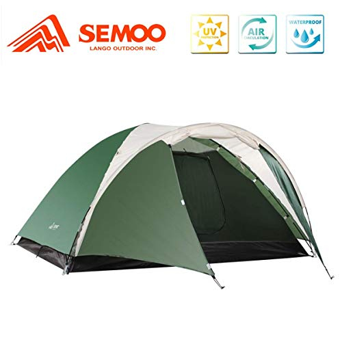Semoo Lightweight 3-Season Camping/Traveling Tent Double Layer, 3-4 Person Waterproof Dome Tent with Carry Bag