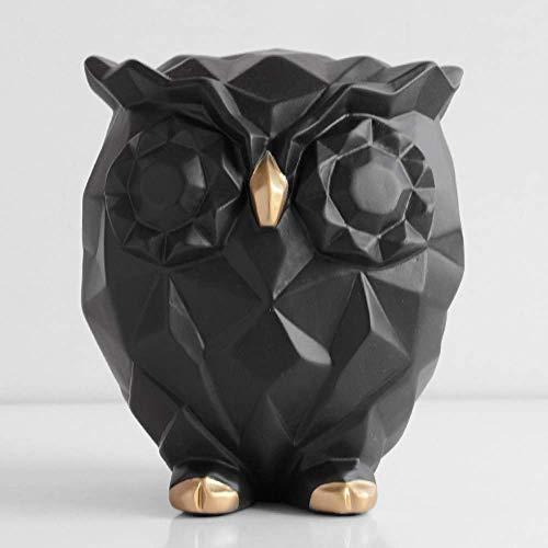 LHQ-HQ Estatua de estatua de estatua, 1 muñeca de resina, regalo lindo búho animal estatua familia sala de estar artesanía jardín hada juguete decoración niño lindo geometría búho pequeño negro