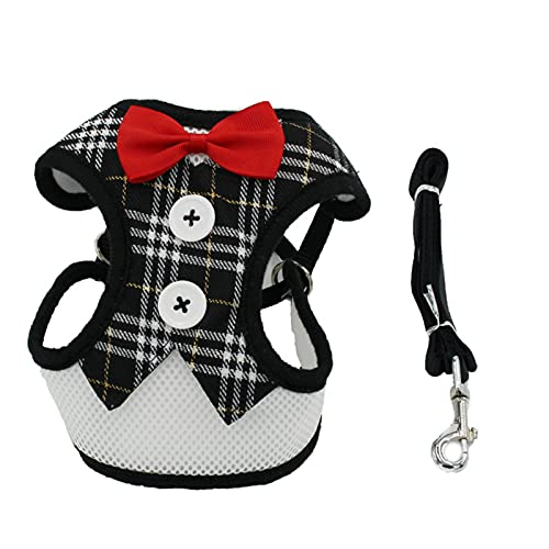 LUBINGT Pet Accessories Puppy Cat Harness and Leash Set Breathable Pet Harness Vest for Small Dogs Rabbits Mesh Dress Bow Chest Belt Collar Chihuahua (Color : Gold Black Grid, Size : M Chest 28 46cm)