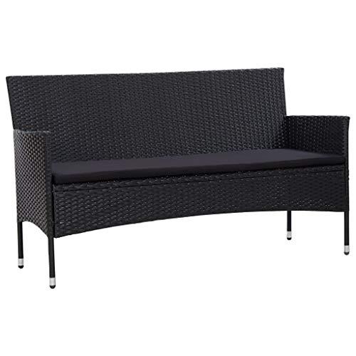 Festnight 3-Sitzer-Gartensofa mit Auflagen Gartenbank Sitzbank Bank Loungesofa Gartenmöbel Sofa Lounge Schwarz Poly Rattan 155 x 58 x 81 cm