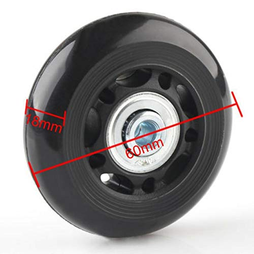 Js-mlx 2PCS Black Luggage bag Suitcase Replacement Rubber Wheels Axles Repair Accessories No noise Casters OD 40mm/54mm/60mm/64mm/80mm (Color : 60mm X 18mm)