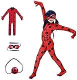 KLCH Ladybug Cosplay Disfraces de Lujo para la Fiesta de Carnaval Navidad Christmas Halloween, Mono de Mariquita para niños M(7-8 años)