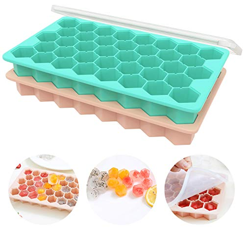 Ice Cube Trays with Lids, Ozera 2 Pack Silicone Ice Cube Tray Ice Tray with Removable Lid, Food Grade Flexible 76 Cubes Ice Cube Molds for Whiskey Storage, Cocktail, Beverages