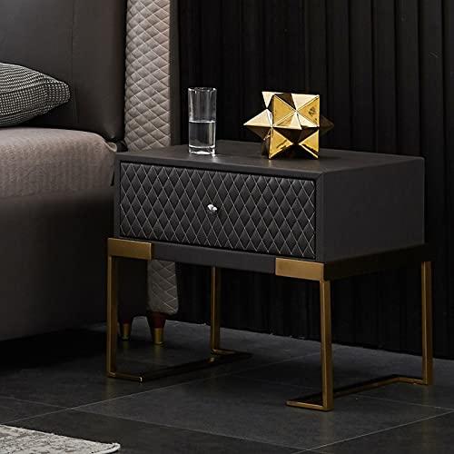 KAIBINY YY Mesa de Noche Italiana Estante de Acero Inoxidable Gabinete de Almacenamiento Dormitorio Moderno Simple Cama Cajonera Mueble de Almacenamiento (Color : Sky Blue)