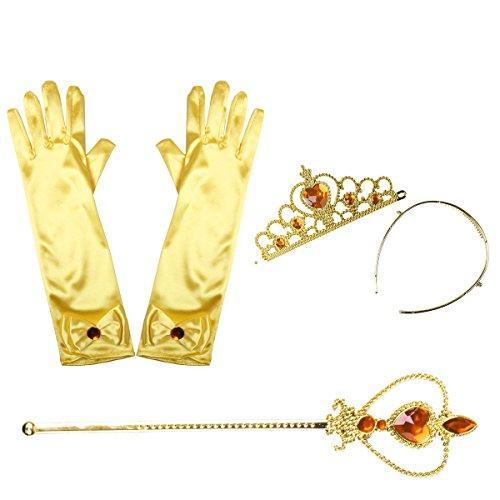 iEFiEL Princesa Disfraz Accesorios Regalo Conjunto de Belleza Corona Sceptre Collar Guantes para Nia Cosplay Carnaval Fiesta de cumpleaos Fiesta de Halloween Amarillo B One_Size