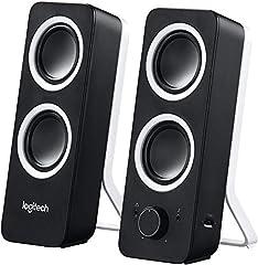 Logitech Z200 2.0-luidspreker met subwoofer, surround sound, piekvermogen van 10 Watt, 2x 3,5 mm ingangen, volumeregeling, EU-stekker, pc/tv/smartphone/tablet – Midnight Black/Black*