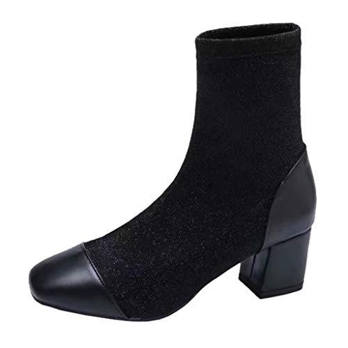 Botines de tobillo para mujer, punta cuadrada, sólidos, casuales, para exteriores, botas de plataforma de tobillo, tacón grueso, botas de tacón bajo