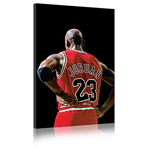 Five-Seller Michael Jordan Vista Posterior Estrella De Baloncesto Impresión Fotográfica Cuadro sobre Lienzo Arte De Pared, Encendido (50_x_70_cm)