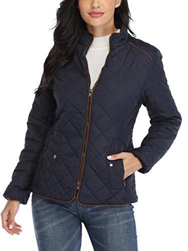 Wudodo Damen Jacke Steppjacke mit Stehkragen Übergangsjacke Gesteppt Jacke, Blau