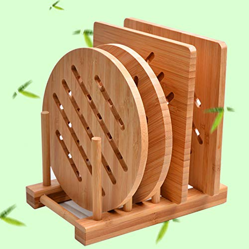 Bamboo Trivet Kitchen Bamboo Hot Pads Trivet Natural Bamboo Trivet Mat Set for Hot Dishes/Pot/Bowl/Teapot/Hot Pot Holders 2 square 2 roundness 1 storage rack