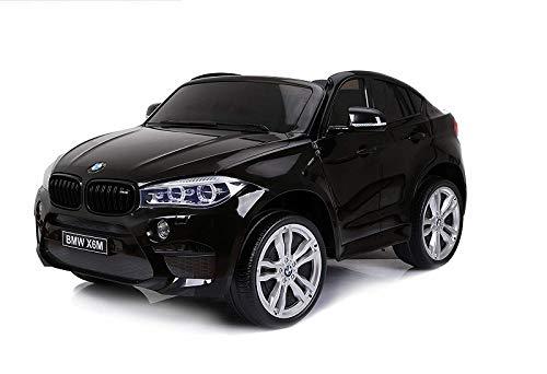 Tecnobike Shop Auto Macchina Elettrica per Bambini BMW X6 M 2 Posti Sedili in Pelle Telecomando Porte Apribili Luci e Suoni Ingresso USB TF Mp3 (Nero)