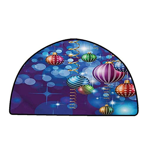 Outdoor Kitchen Room Floor Mat Christmas,Happy New Year Party Celebrations with Swirling Ornaments and Balls Festive Print,Blue Gold,W24 x L16 Half Round Bath Rugs