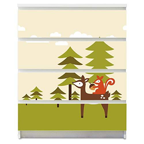 banjado Möbelaufkleber für Kinder-Zimmer | Selbstklebende Möbelfolie passend für IKEA Malm Kommode | Wandtattoo Deko mit Design Heimweg für 4 Schubladen