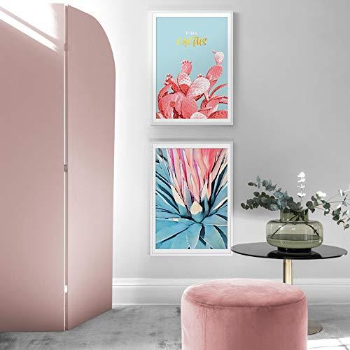 oioiu Flor Rosa Cactus Monstera Agave Arte de la Pared Pintura en Lienzo Póster nórdico y Planta de impresión Imagen de Pared Decoración de la Sala de Estar Sin Marco
