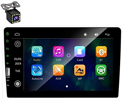 "Autoradio Doppel Din - 9\"" Bluetooth Autoradio Touchscreen MP3 MP5 Multimedia Car Player mit Freisprecheinrichtung, USB, FM Radio, 4-LED-Rückfahrkamera, Spiegel Link, 7 Farbige Hintergrundbeleuchtung"