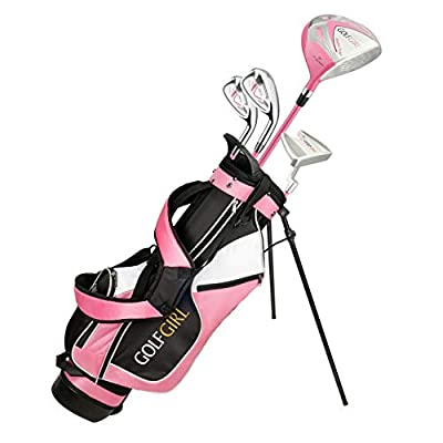 """Golf Girl Junior Girls Golf Set V3 with Pink Clubs and Bag, Ages 8-12 (4' 6"""" - 5'11"""" Tall), Right Hand"""