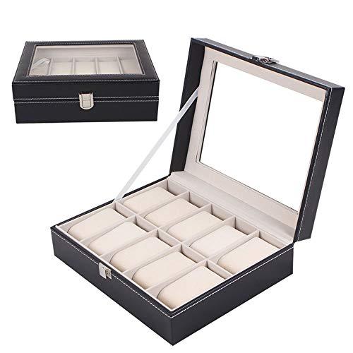 TONGSH Custodia per Orologi, 10 Portamonete con Cassa per Orologio in Cuoio, portaconfetti per Compleanno, per Uomo e Donna Neri