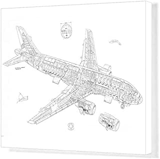 Media Storehouse 20x16 Canvas Print of Airbus A320 Cutaway Drawing (4499470)