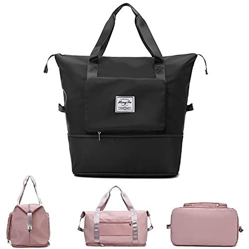 Zovco, borsa da viaggio pieghevole di grande capacità, da viaggio, leggera, pieghevole, borsa da viaggio, borsa da viaggio in tessuto Oxford impermeabile, colore nero