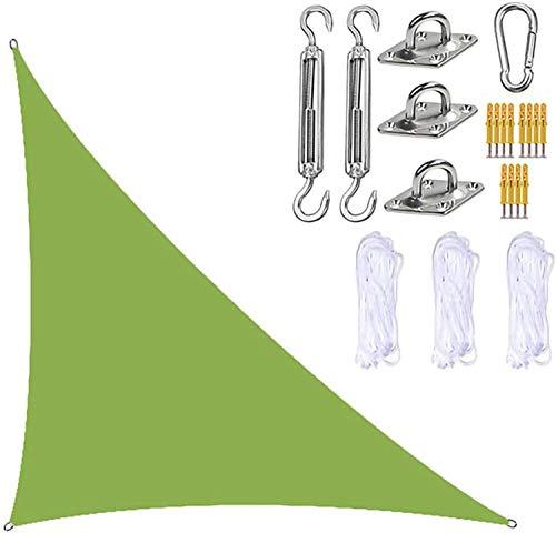 TBNOONE Parasol Triangular para Velas de jardín con Kit de fijación, toldo para Velas de jardín, 3 Cuerdas, Bloque UV e Impermeable, toldos para sombrillas de jardín para Patios(3m x 4m x 5m,Green)