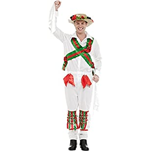 Adult Mens Morris Dancer Fancy Dress Costume Stag Night Outfit Extra Large