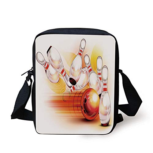 FAFANIQ Bowling Party Decorations,Red Ball Falling Skittles Hit Speed Movement Throw Strike Decorative,Red Yellow White Print Kids Crossbody Messenger Bag Purse