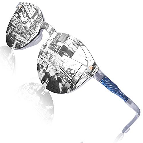 GQUEEN Futuristische Sonnenbrille Damen Herren Verspiegelt Rahmenlose UV400 MEO5