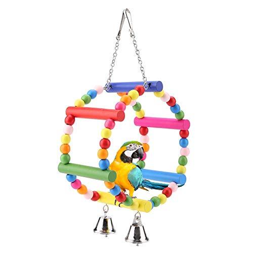 HEEPDD Papegaai Swing Toy, Kleurrijke Houten Kralen Wheel Swing Opknoping Staande Speelgoed met Twee Klokken voor Kleine Medium Huisdier Vogels Oefening Klimmen