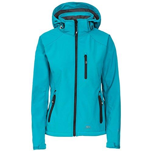 Trespass Damen BELA II Wasserabweisende, atmungsaktive und windfeste Softshell-Jacke mit Abnehmbarer Kapuze, 3 Taschen und Kinnschutz geeignet als Outdoor Wander- und Übergangsjacke, XS, Marine (Blau)