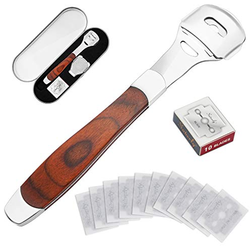 Foot Care Pedicure Shaver, Wood Handle Foot Callus Shaver Sets, Dead Hard Skin Callus Remover for...