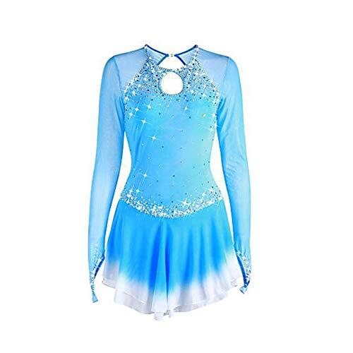 LWQ Eiskunstlauf-Kleid, Frauen-Mädchen Eislaufen Kleid Pale Blue Halo Färben Spandex hohe Elastizität-Wettbewerb Skating tragen Handmade