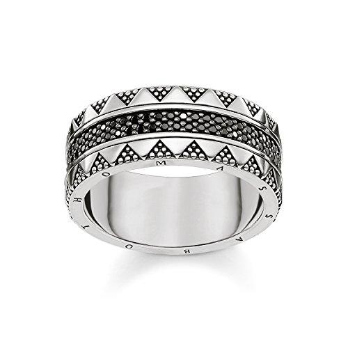Thomas Sabo anillo Unisex jeroglíficos ornamentación, 925Plata de Ley, circonitas Pave negro ennegrecido tr2107–643–11, Plata-esterlina, silver, black, 48
