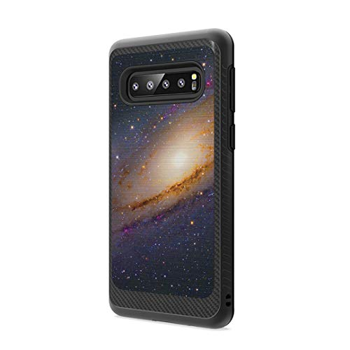 Moriko Case Compatible with Galaxy S10 Plus [Drop Protection Dust Shock Impact Proof Carbon Fiber Protective Black Case Cover] for Samsung Galaxy S10 Plus S 10+ 2019 - (Space Milkyway)