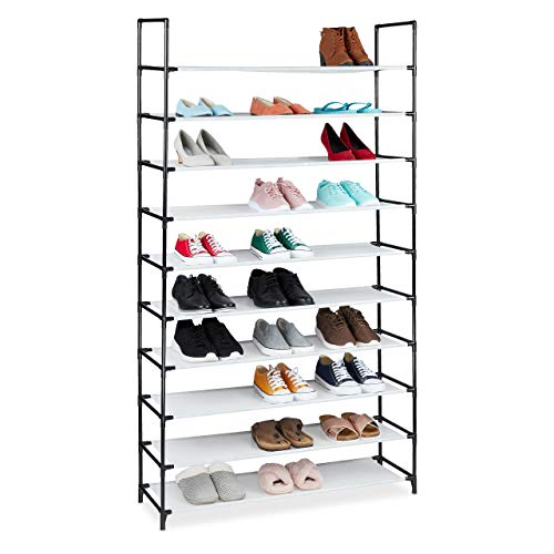 Relaxdays Zapatero XXL, 10 Niveles, para 50 Pares de Zapatos, plástico, 5 x 99 x 29,5 cm, Color Blanco, 176,5x99x29,5 cm
