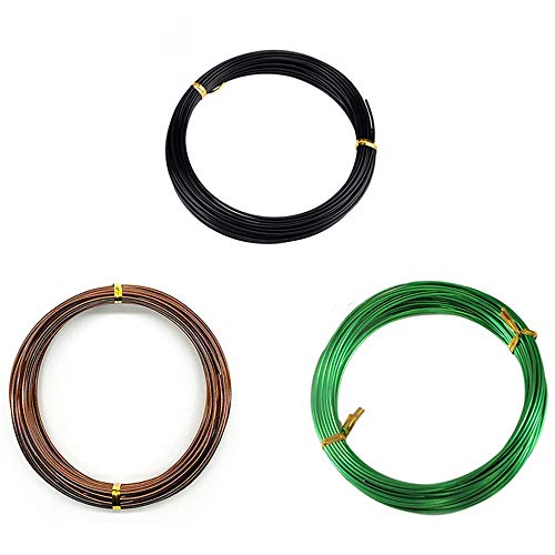 Bullet Face Set of 3 Sizes Color Long Lasting Bonsai Training Wire with Aluminum - 1.0mm, 1.5mm, 2.0mm(32 Feet Each Size) - Corrosion and Rust Resistant, 100Pcs Plastic Plant Labels(Assorted Color)