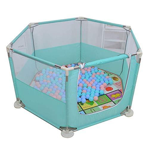 QULONG Corralito de Seguridad para niños pequeños Corralito con Pelota, colchón Hexagonal para bebés con Cortina Enrollable, Exterior/Interior, antivuelco, Verde, Valla para niños, Regalos para e