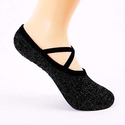 EEM 2 Paar Yoga Socken für Frauen Anti-Rutsch-Griffe und Riemen, ideal für Pilates, Reine Barre, Ballett, Tanz, Barfuß Workout, Einheitsgröße Fit alle von Größe 5.5-10 (Kreuz Stil)