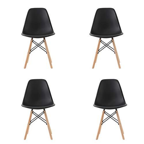 Pack 4/6 sillas de Comedor Silla diseño nórdico Retro Estilo (Black 4)