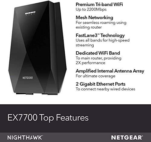 NETGEAR EX7700 - Extensor de red WiFi (hasta 2000 pies cuadrados) y 40 dispositivos con AC2200 Tri-Band amplificador de señal inalámbrica y repetidor (hasta 2200 Mbps de velocidad), además de malla Smart Roaming
