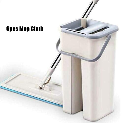Leobtain Floor Cleaning Mop Bucket System Handsfree Squeeze 2 in 1 Wash Dry with Reusable Flat Mop Pads