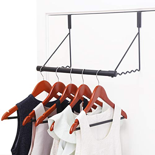 MAX Houser Over The Door Closet Rod, Over The Door Clothes Organizer Rack and Door Hanger for Clothing or Towel,Home Storage and Organization, Easy Installation (Black)