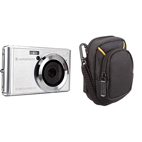 AGFA Photo – Kompakte Digitalkamera mit 21 Megapixel CMOS-Sensor, 8X Digitalzoom und LCD-Display Silber & AmazonBasics Kameratasche für Kompaktkameras, mittlere Größe
