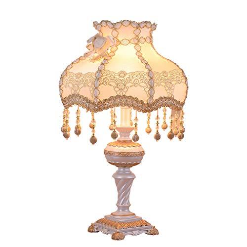 E27 tafellamp, bedlamp, slaapkamer, lamp, romantisch, eenvoudig en warm, creatief, T-eikel van stof + kunsthars, 33 x 55 cm (zonder lichtbron) Wit